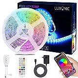 Bande Lumineuse Bluetooth 5M 150 LEDs Étanche RGB, Ruban LED 5050 Contrôlé par APP du Smartphone Android et iOS, avec Récepteur Bluetooth et Alimentation 12V et Télécommande IR