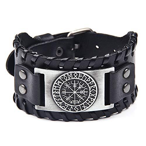 SSRSHDZW Viking Rune Kompass Armband Retro Männer Und Frauen Armband Urlaub Geburtstagsgeschenk Dekoration 27.5X4cm,Silber