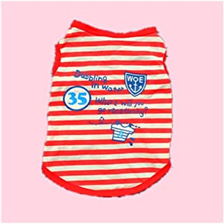 Teddy Schnauzer Dog Spring and Summer Cotton Striped Vest Puppy Breathable t-Shirt (Color : Red, Size : XS)