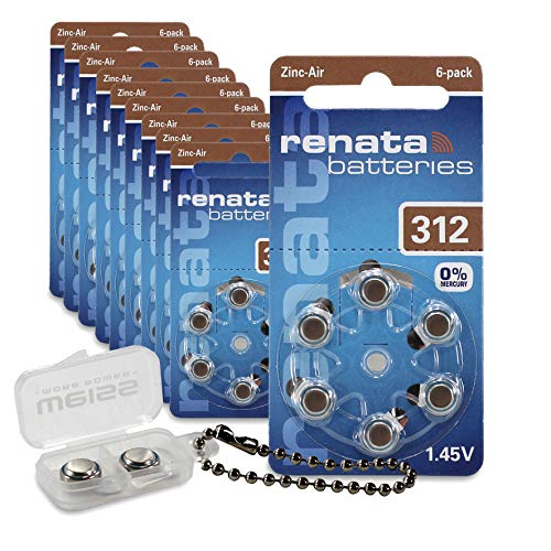 Renata The Swiss Power Source - Batteria per apparecchi acustici 312, confezione da 60 pezzi, con scatola di conservazione per apparecchi acustici, colore: Bianco