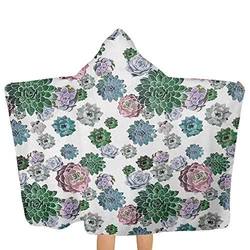 ZHSL Cactus, serviette à capuche Poncho Motif coloré de plantes succulentes Feuillage exotique tropical Design de jardin naturel Ultra respirant et doux pour toutes les saisons Multicolore, 51,5 x 31,