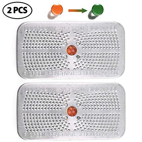 LotFancy Gel de Sílice Desecante de Bote, Cambio de Color Perlas de Naranja Reutilizable Deshumidificador 40g x 2 Cajas, No Tóxico, Seguro, Sin Cloruro de Cobalto II