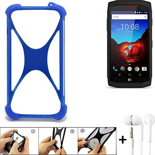 K-S-Trade® Handyhülle Kompatibel Mit Crosscall Trekker X3 Bumper Schutzhülle Silikon Schutz Hülle Cover Case Silikoncase Silikonbumper TPU Softcase Smartphone, Blau (1x), Headphones
