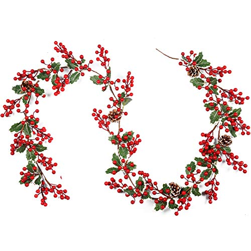 Meiliy Red Berry Christmas Garland Fireplace Christmas Decorations Pip Berry Garland Mantel Centerpiece with Pinecone for Indoor Outdoor Wedding Home Decor