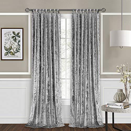 "2-Pack Criss-Cross Elegant Window Curtains Light Filtering Semi-Sheer Panels: 50"" x 63"", Criss-Cross Panel, Silver"
