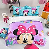3D Minnie Mouse Duvet Cover Set Full Size Kids Cartoon Mickey Mouse Pattern Bedding Set with 2 Pillow Shams, Cute Cartoon Comforter Cover for Kids Girls (Full(85'x85'))