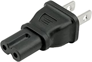 ACA1001 IEC C7 (unpolarized Figure 8) to NEMA 1-15 USA Two Prong Plug Adapter with UL Certification. Perfect for Replacing Your Bulky 2 pin Cord with This Handy Adapter. Great for Travel.