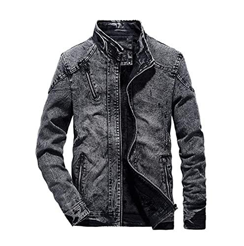 XGHW Männer Casual Vintage Denim Jacken, Herren Windjacke Warme Mäntel Männliche Streetwear Jeanjacke, Männer Sportjacke (Color : Black, Size : S)