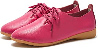AUCDK Women Oxfords Leather Casual Flat Shoes Vintage Style Lace Up Loafers Low Top Ladies Brogues
