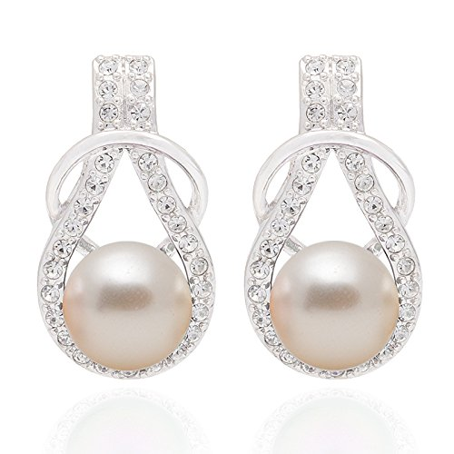 Swarovski Crystal Posh Pearl Craft Earring Handmade by Siwan Crystal With Pearl Crystal from 100% Authentic SWAROVSKI Come with Luxury Gift Box (Creamrose)