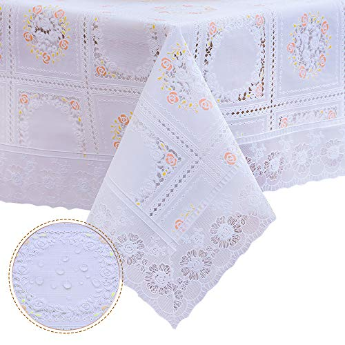 DITAO Waterproof Lace Tablecloth Vinyl Heavy Spill Proof Easy Care Table Cover for Square Table