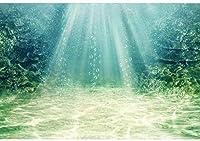 キッズパーティーのための新しい2.1x1.5mポリエステル背景背景水中世界太陽光線海藻砂底写真の背景
