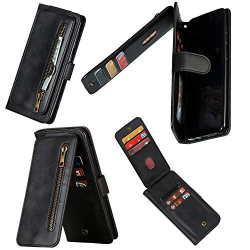 Miagon Reißverschluss Brieftasche Tasche Hülle für Samsung Galaxy S20 Ultra,Magnet Stand-Funktion Leder Schutzhülle Flipcase mit 9 Kartenfach und Handschlaufe,Schwarz