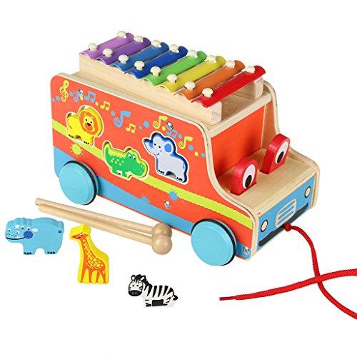 ACOOLTOY Juguete de madera Tire autobús con forma animal Clasificador 8 claves xilófono