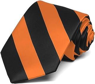 TieMart Boys' Orange and Black Striped Tie