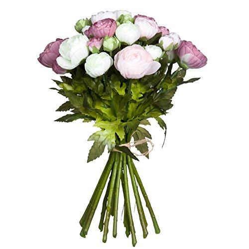 Mica decorations 964826 Renoncule Bukett L35D26 rosa Blumenstrauss, Rosa Bunt, 26 x 26 x 35 cm