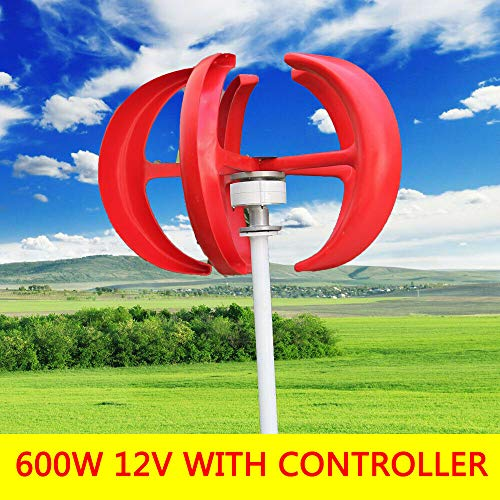 SENDERPICK 600W Laterne Windkraftanlage Vertikalachse 5 Klingen Windkraftanlage mit Laderegler (rot, 12 V)
