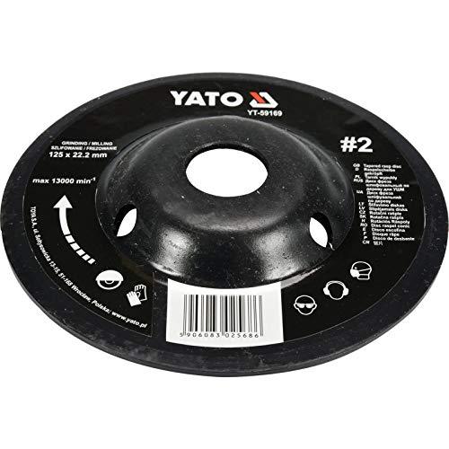 YATO Disco de limado profesional para amoladora angular a elegir 115 mm 125 mm, disco de lija para madera, arte de madera (125 mm Nr 2 recto, acodado, superficie completa), 0