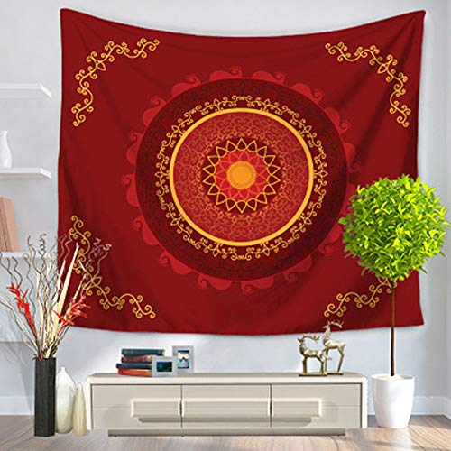 DOTBUY Mandala wandteppich, Hippie Wandteppiche Mandala Bohemian Psychedelic komplizierte indischen Tagesdecke Beach Tapestry Yoga Meditation Mat (Groß (150 x 200cm), Rot)