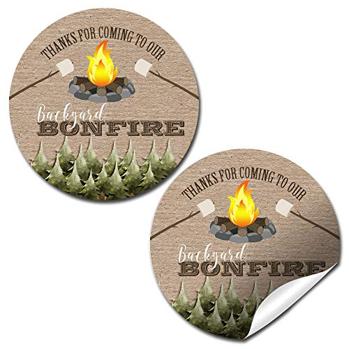 Backyard Bonfire Thank You Sticker Labels, 40 2' Party Circle Stickers by AmandaCreation, Great for Party Favors, Envelope Seals & Goodie Bags
