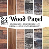 Wood Panel Scrapbook Paper Double-sided Scrapbooking Pages: 24 Sheet Pad for Decorative Wood Grain Papers Crafts, Backgrounds, Stamp Making, ... Antique Old Ornate Printed Designs & More