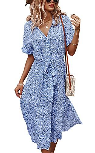 Angashion Women Dresses Casual Short Sleeves Floral Print Button Down V Neck Summer Boho Midi Dress 2168Blue Small