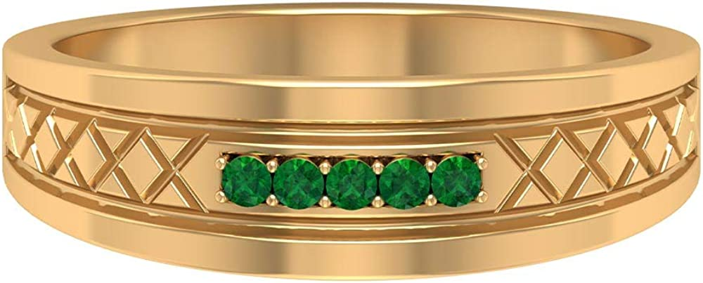 1.5 MM Round Lab Created Emerald Ring, Wedding Band Ring, Gold Engraved Ring (AAAA Quality), 14K Gold