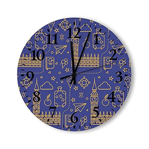 Reloj de pared de madera, 15 pulgadas, funciona con pilas, patrón sin costuras con Big Ben Parliament para edificar y viajar, reloj de pared redondo para decoración de habitaciones de niños