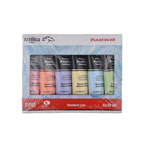 Plascolor PP182 - Pack de 6 tubos de pintura acrílica, multicolor ...