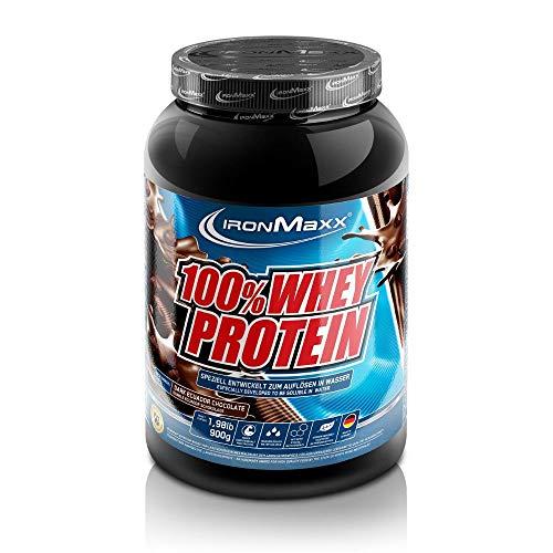 IronMaxx 100% Whey Protein – Wasserlösliches Proteinpulver – Eiweißpulver mit Dark Ecuador Chocolate Geschmack – 1 x 900 g Dose