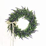 Artificial Lavender Wreath Garland, Artificial Flowers Garland Floriation Hanging Pendant background for Front Door, Wall, Home, Wedding Window Decoration 42CM