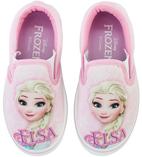 Joah Store Frozen Elsa Slip-on for Girls Synthetic Leather Canvas Anti-Slip Sneakers Pink Shoes (13 M US Little Kid, Frozen Elsa)