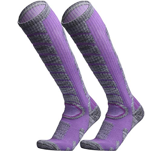 WEIERYA Ski Socks 2 Pairs Pack for Skiing, Snowboarding, Cold Weather, Winter Performance Socks Purple Medium