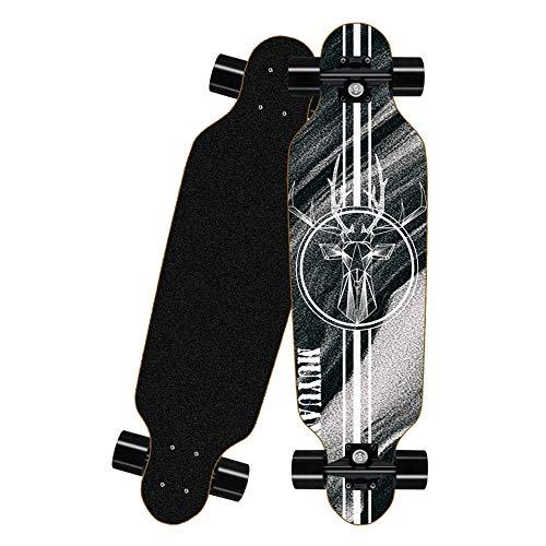 HUADUO Longboard Skateboard, komplettes Ahorn Skateboard Anfänger Erwachsene Jungen und Mädchen Brush Street Dance Board-D