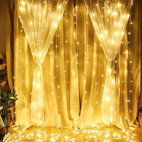 Fotgear Cortina de Luces, Cadena de luces Recargable por USB, 3 * 3 m 300 LED Resistente al Agua con 8 Modos de Luz, Cortina Luminosa de Lamparita LED con Control Remoto para Navidad, Fiesta, Cumpleaños, Boda, Blanco Cálido