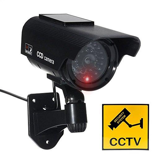 JUSTOP Dummy CCTV Camera Outdoor/Indoor Impermeabile Con Realtà LED Luce Solare O Batteria Alimentato Falso CCTV Cam - Nero