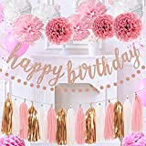 Pink Birthday Decorations for Girls and Women, Elegant Birthday Engagement Stylish Decorations Party Supplies Set Includes Banner, Pom Pom, Circle Dots Garland and Paper Tassel Garland