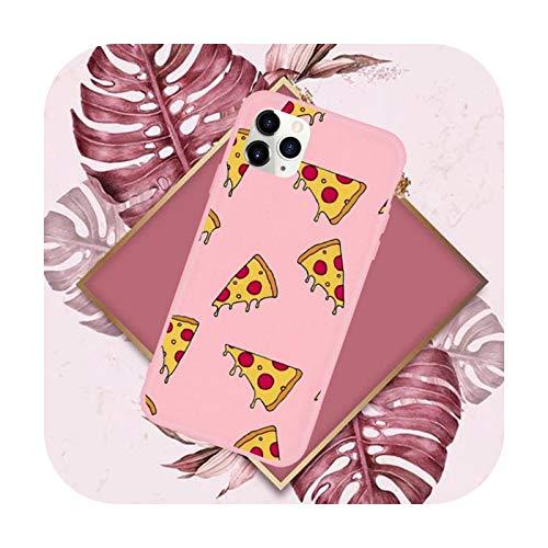 Funda para teléfono móvil con diseño de hamburguesas y pizzas, color rosa caramelo para iPhone 11 12 Mini Pro XS MAX 8 7 6 6S Plus X SE 2020 XR-a10-iPhone12mini