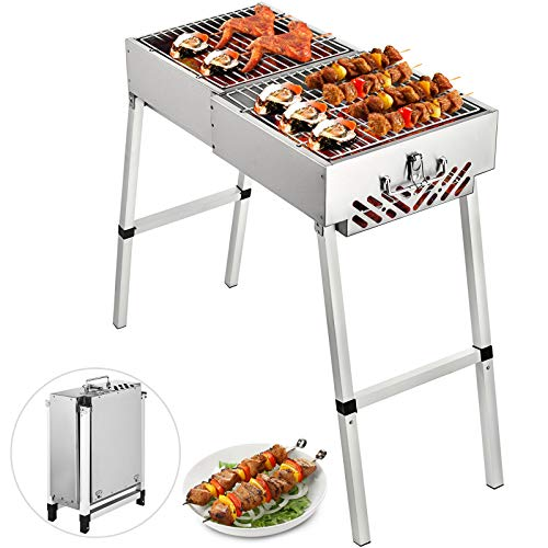 Happybuy Folded Portable Charcoal BBQ Grill, 32x12 inches Outdoor Barbecue Camping Grill,Stainless Steel Kebab Grill, Folding Grill, Perfect for Home Ourdoor Travel Use