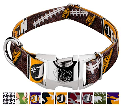 Country Brook Petz - Premium Black and Gold Football Fan Dog Collar - Sports and Athletics Collection with 9 Spirited Designs (1 Inch, Extra Large)