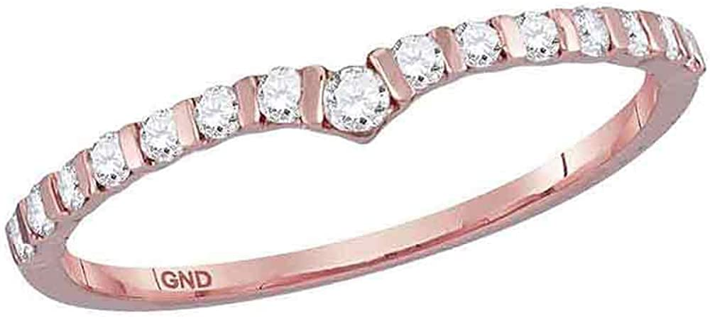 10K Rose Popular standard Gold Womens Jacksonville Mall Round Diamond Ring Stackable Band 1 Chevron