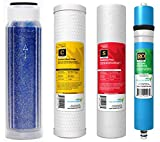 "AquaticLife Reverse Osmosis 10"" Replacement Filter Cartridges Kit - Includes Carbon Block Filter, Sediment Cartridge 100 GPD Membrane and Mixed-Bed Color Changing Deionization Resin for RO/RODI System"