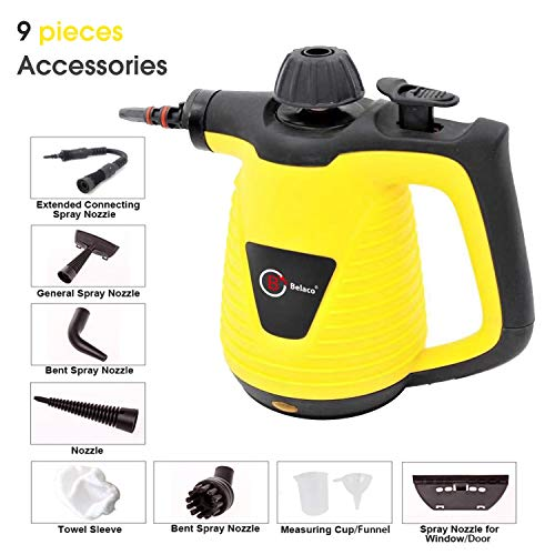 Hand Held Portable High Pressure Steamer for Bathroom Navaris Handheld Steam Cleaner With Accessories Window Oven Tile Multi Purpose Cleaning