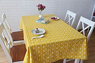 GHTYN Linen Cotton Square Kitchen Table Cloth Cover Nordic Yellow Checkerboard Gray Wheat Spike Printing Tablecloth Custom 130x180cm Yellow