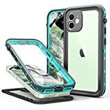 iPhone 12 Waterproof Case Teal, Built-in Screen Protector Full-Body Protection Heavy Duty Shockproof DustProof Cover Case for iPhone 12 6.1',2020 (Clear+Blue)