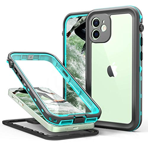 """iPhone 12 Waterproof Case Teal, Built-in Screen Protector Full-Body Protection Heavy Duty Shockproof DustProof Cover Case for iPhone 12 6.1"""",2020 (Clear+Blue)"""