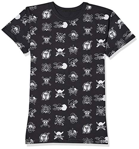 Camiseta One Piece Caveira, Piticas, adulto e infantil unissex, Preto, 12