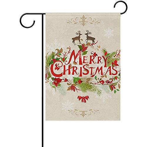 Not Applicable Weihnachtskarte Muster Willkommen Garten Flagge 12.5 x 18 Zoll, doppelseitige saisonale Outdoor-Flagge und am besten für Party Yard Home Decor