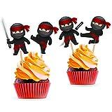 Ninja Cupcake Toppers - Ninja Birthday Party Decorations Supplies Karate Themed- 24 PCS