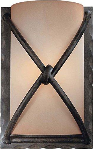 Minka Lavery Wall Sconce Lighting 1974-1-138, Aspen II Glass Damp Bath Vanity Fixture, 1 Light, 60 Watts, Bronze